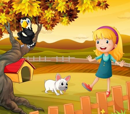 back yard: Ilustraci�n de una ni�a con un perro y p�jaro