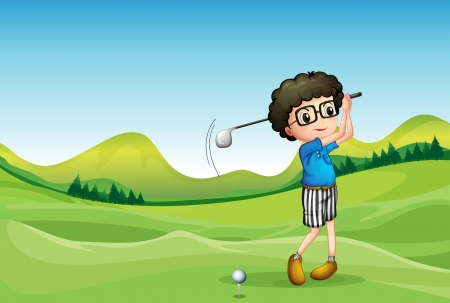 man in field: Illustration of a boy playing golf