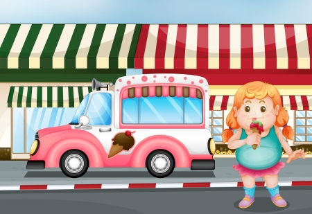 Illustration of a fat young girl eating icecream Vector
