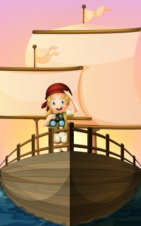 exploring: Illustration of a pirate girl