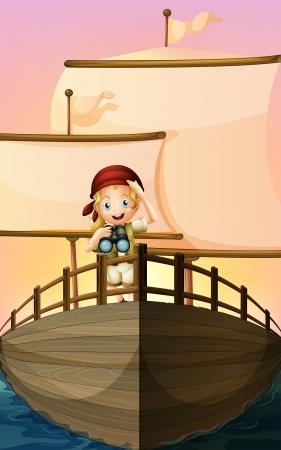 capitano: Illustrazione di una ragazza pirata
