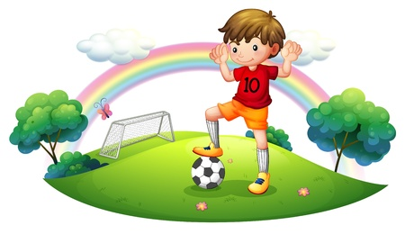 Illustration of a boy in a soccer field on a white background Vector