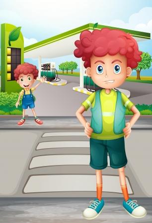 pedestrian crossing: Illustration of two boys near the gasoline station