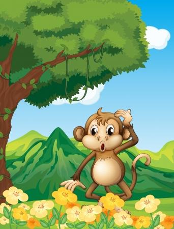 nature scenery: Illustration of a monkey near the mountain