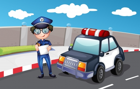 Illustration of a policeman along the road Vector