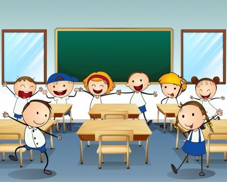 enfants qui dansent: Illustration des enfants danser � l'int�rieur de la salle de classe