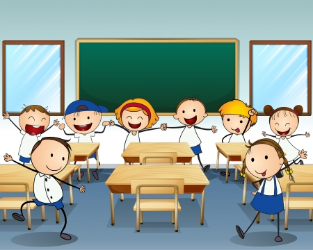 Illustration of children dancing inside the classroom