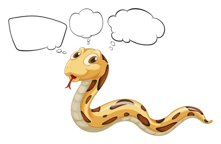 caption: Illustration of a snake with empty bubble notes on a white background Illustration