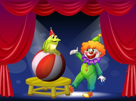 Illustration of a clown and a frog performing on stage Vector