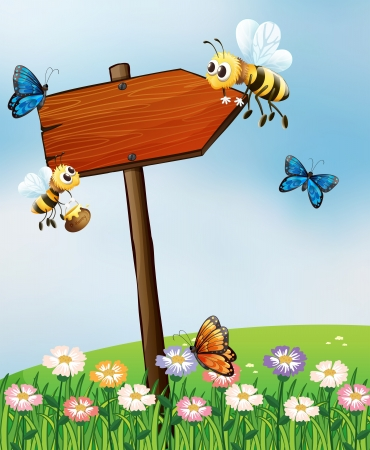 Illustration of an arrow board with insects Vector