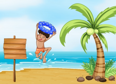 Illustration of a boy and the signboard at the beach Vector