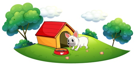 doghouse: Illustration of a doghouse and a dog in an island on a white background
