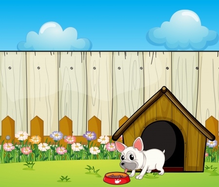 in the dog house: Illustration of a small dog eating Illustration