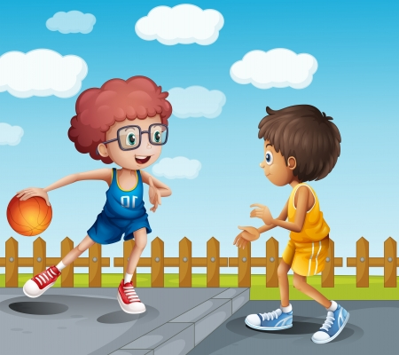 bouncing: Illustration of two boys playing basketball