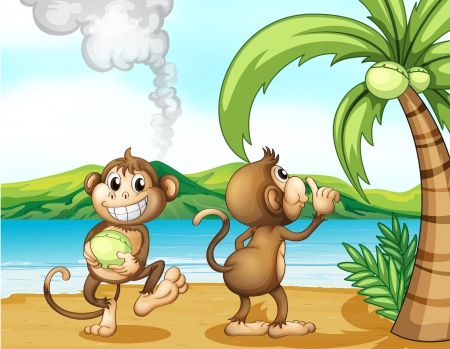 coconuts: Illustration of two monkeys at the beach