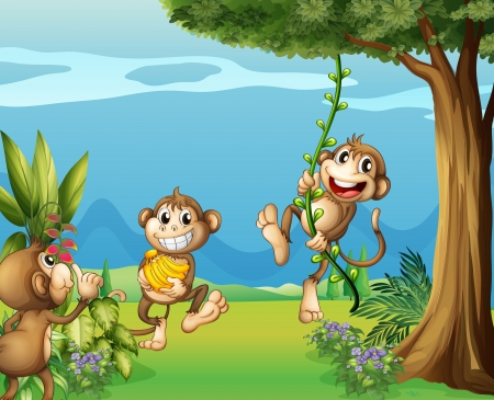 three leaves: Illustration of the three monkeys at the hills Illustration