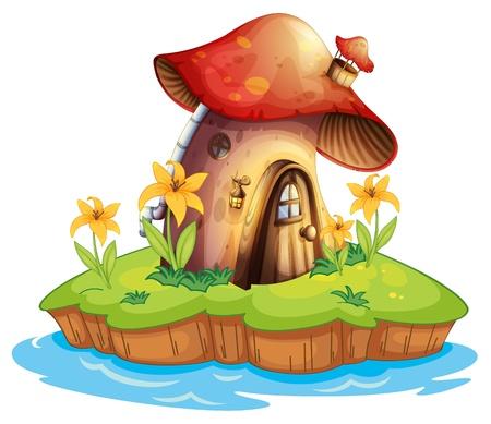 Illustrazione di una casa di funghi su uno sfondo bianco Vettoriali
