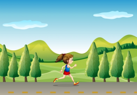 Illustration of a girl jogging at the street with trees Vector