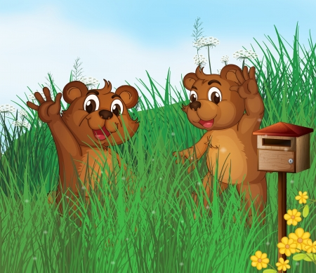 Illustration of the two young bears near a wooden mailbox Vector