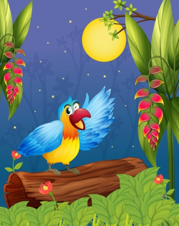 Illustration of a colorful parrot in the middle of the woods Vector