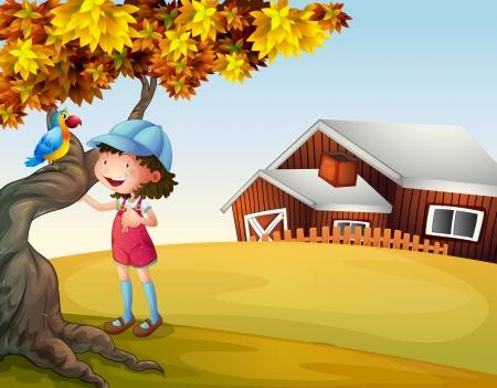 Illustratie van een meisje en een vogel in de achtertuin