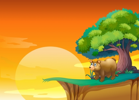 Illustration of a bear near a cliff Vector