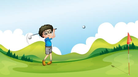 Illustration of a boy playing golf at the field Vector