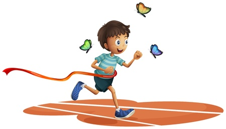 Illustration of a boy running with three butterflies on a white background Vector
