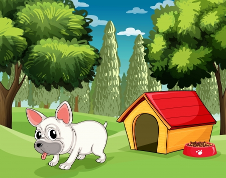 outside the house: Illustration of a doghouse at the park Illustration