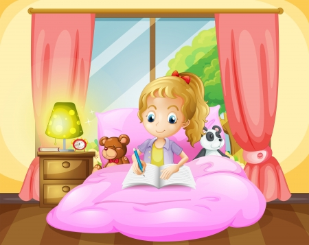 Illustration of a girl writing inside her room Vector