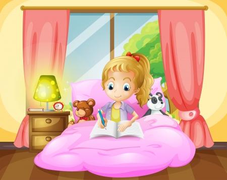 girl room: Illustration of a girl writing inside her room