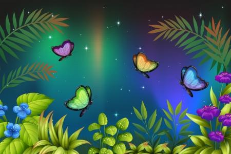 ochtend dauw: Illustratie van een ochtend uitzicht met vlinders