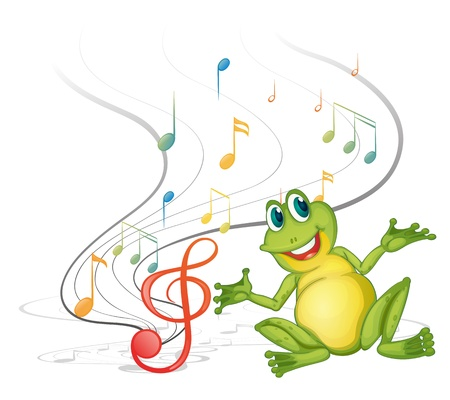 sixteenth note: Illustration of a frog with musical notes on a white backgound
