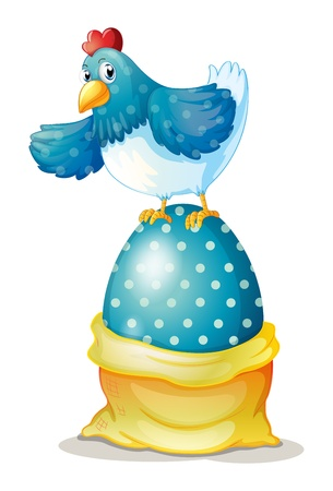 Illustration of a hen above a big easter egg on a white background Vector