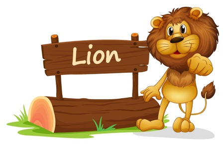 cub: Illustration of a signboard with a lion on a white background
