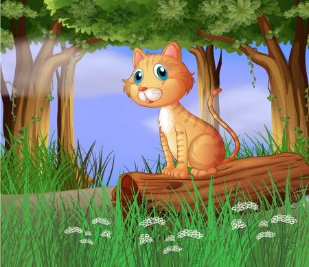 Illustration of a cat in a forest Vector