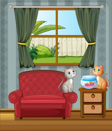 Illustration of two cats beside an aquarium Vector