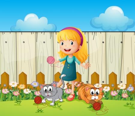 Illustratie van een meisje speelt met haar katten binnen de omheining
