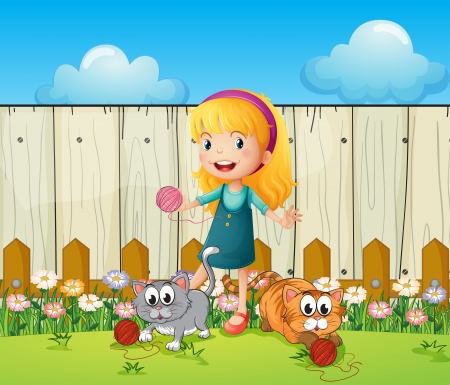 Illustration of a girl playing with her cats inside the fence Vector