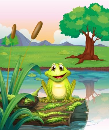 blue frog: Ilustraci�n de una rana en el lago