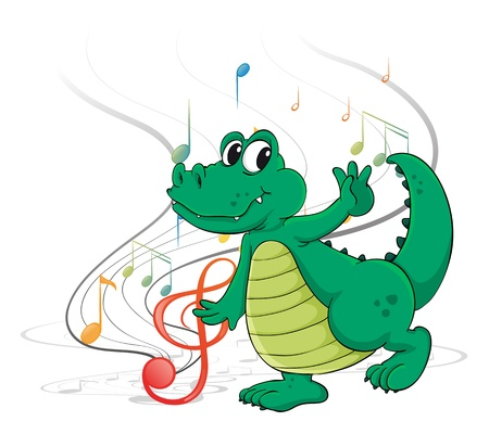 sixteenth note: Illustration of a dancing dinosaur on a white background Illustration
