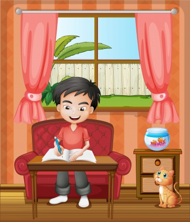 Illustration of a young boy writing Vector