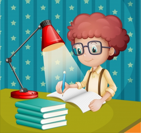 Illustration of a boy studying Иллюстрация