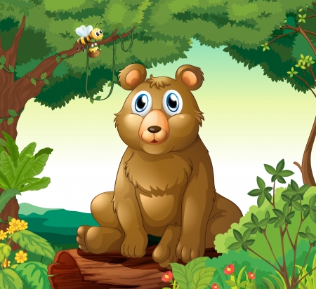 Illustration of a big bear in the forest Vector