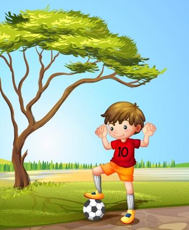 futbol soccer dibujos: Ilustración de un niño con un balón de fútbol