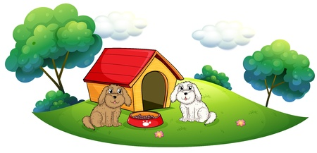 Illustration of an island with a doghouse and two puppies on a white background Vector