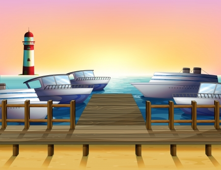 Illustration of the port and the sunset view Vector