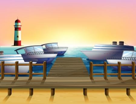 parola: Illustration of the port and the sunset view Illustration