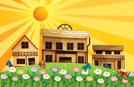 wooden houses: Illustration of a garden at the hills near the wooden houses Illustration