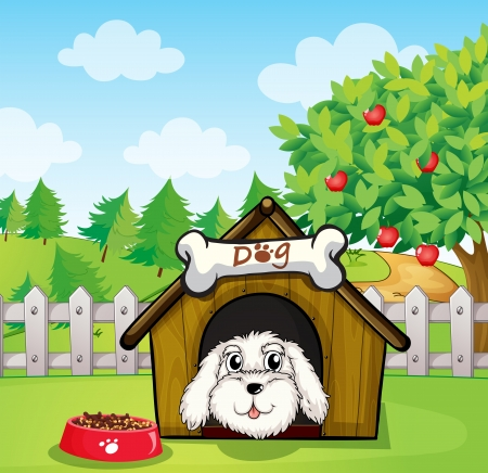 Illustration of a puppy inside a doghouse near an apple tree Vector
